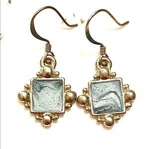 Silver blue dangle earrings vintage
